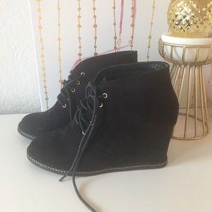 NWOT Forever 21 Black Suede Wedge Ankle Booties